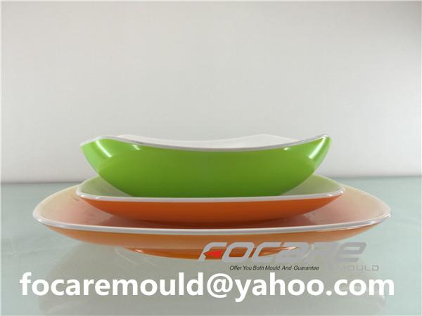 China dos colores vajilla moldes bi inyeccion plato plato molde